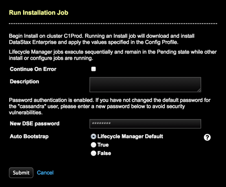 Running an installation job | OpsCenter 6 1