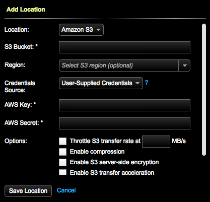 Adding an Amazon S3 backup location | OpsCenter 6 5